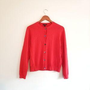 Eileen Fisher Merino Wool Cardigan Sweater Orange